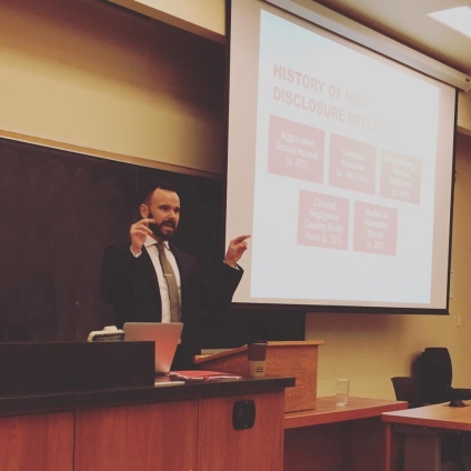 Kyle lecturing in Criminal Law at Queen's University | October 2015