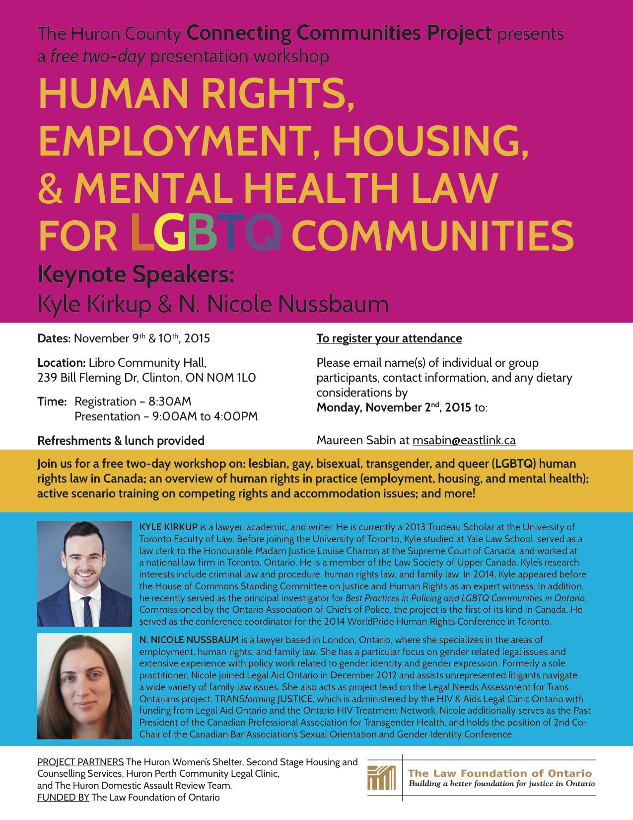 LGBTQ Human Rights Law Workshops | Kyle Kirkup